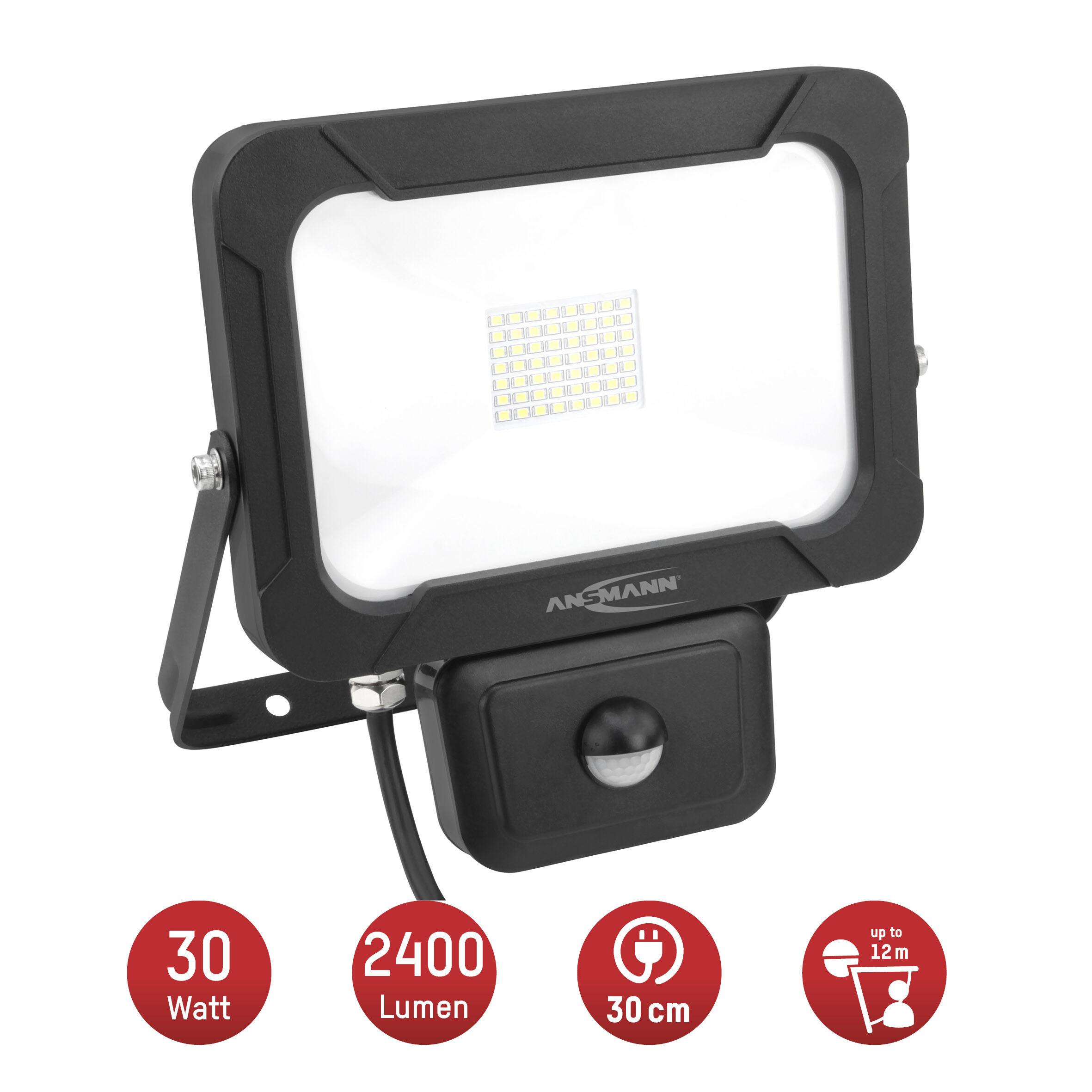 ANSMANN Wandstrahler mit Bewegungsmelder LED 30W – IP54 wetterfest