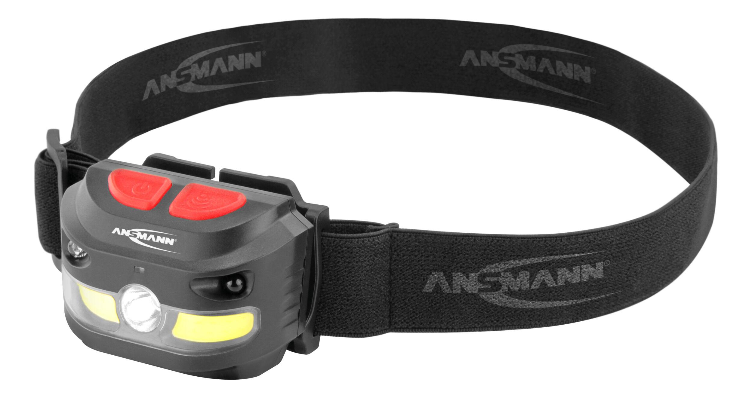 ANSMANN Akku LED Kopflampe 250 Lumen Sensor gesteuert - Stirnlampe HD250RS