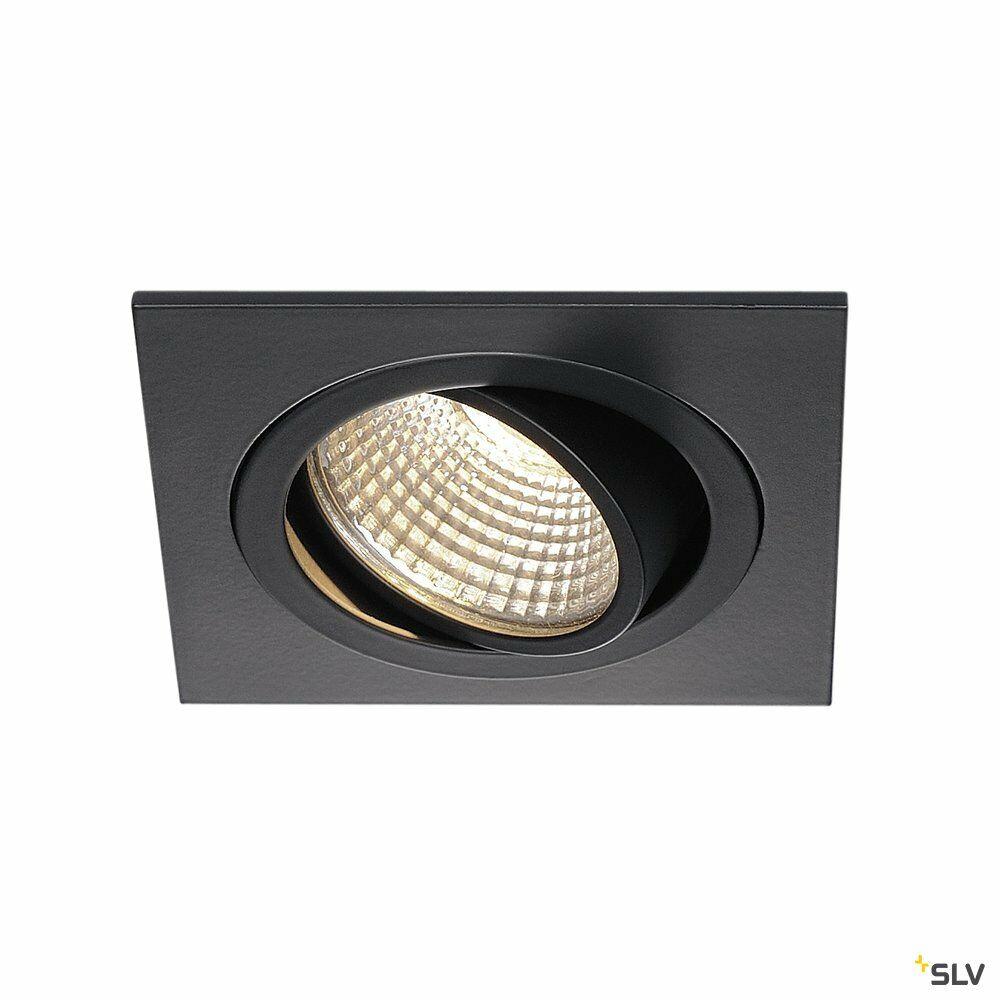 NEW TRIA 1 SET, Einbauleuchte, einflammig, LED, 3000K, eckig, schwarz matt, 38°, 9,1W, inkl. Treiber, Clipfedern