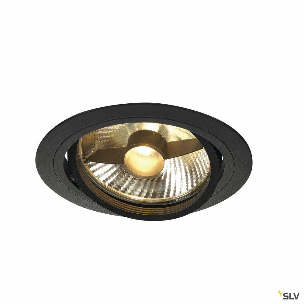 NEW TRIA 1, Einbauleuchte, einflammig, QPAR111, rund, schwarz matt, max. 75W, inkl. Blattfedern