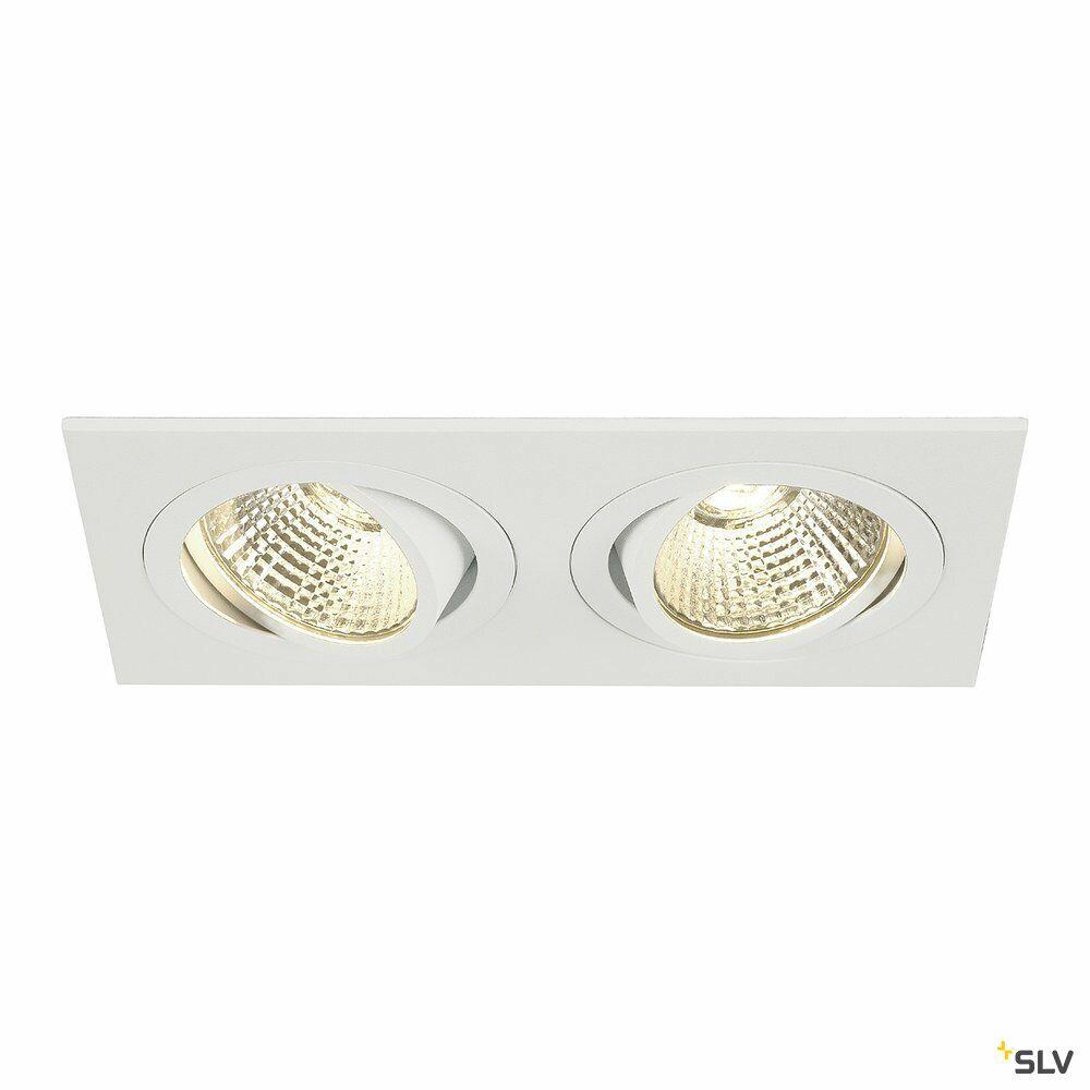 NEW TRIA 2 SET, Einbauleuchte, zweiflammig, LED, 2700K, rechteckig, weiß, 38°, 14,7W, inkl. Treiber, Clipfedern