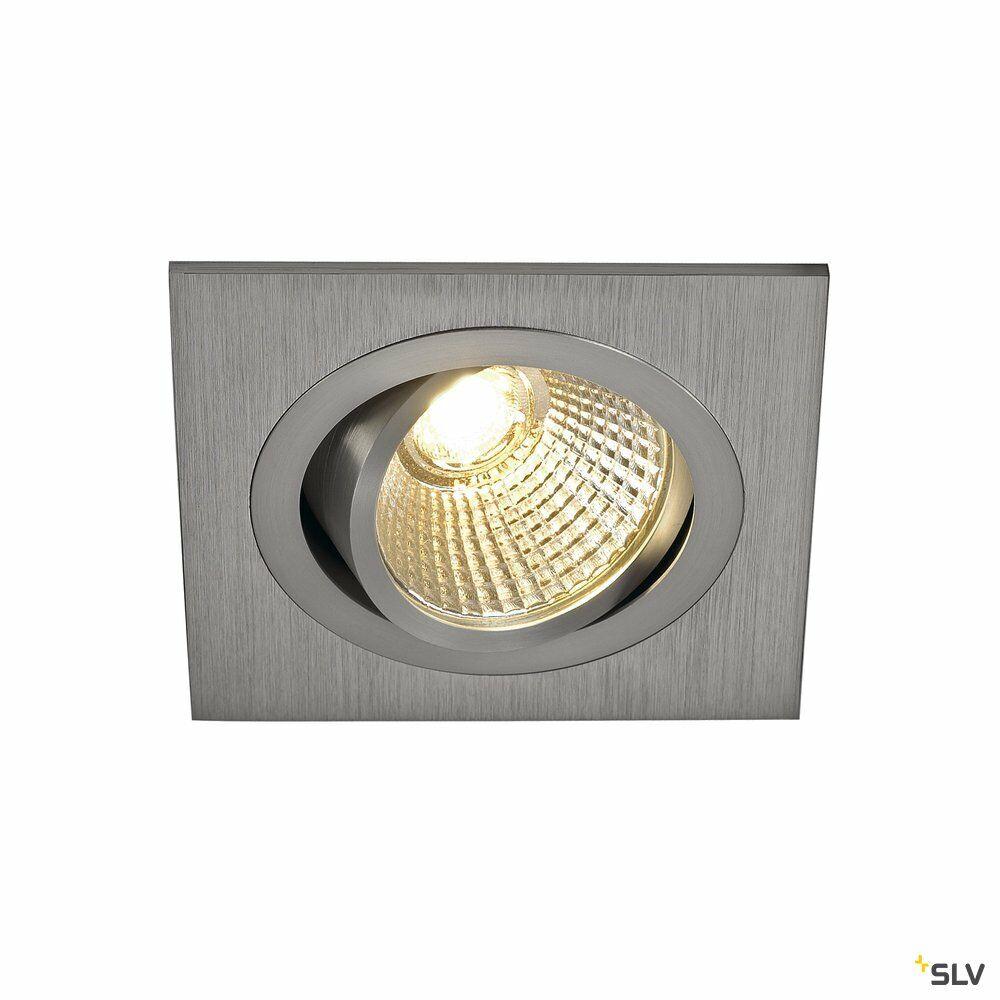 NEW TRIA 1 SET, Einbauleuchte, einflammig, LED, 3000K, eckig, aluminium gebürstet, 38°, 9,1W, inkl. Treiber, Clipfedern