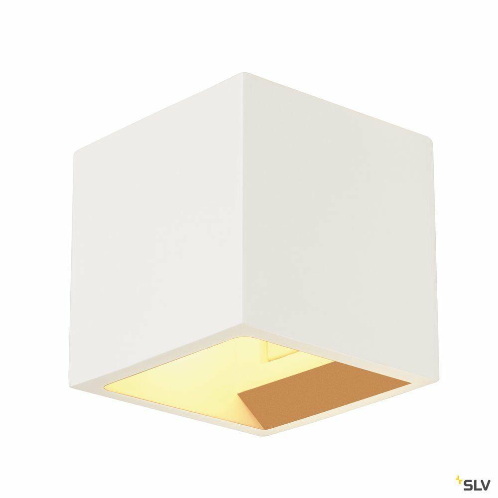 PLASTRA, Wandleuchte, QT14, eckig, Cube, weißer Gips, max. 42 W