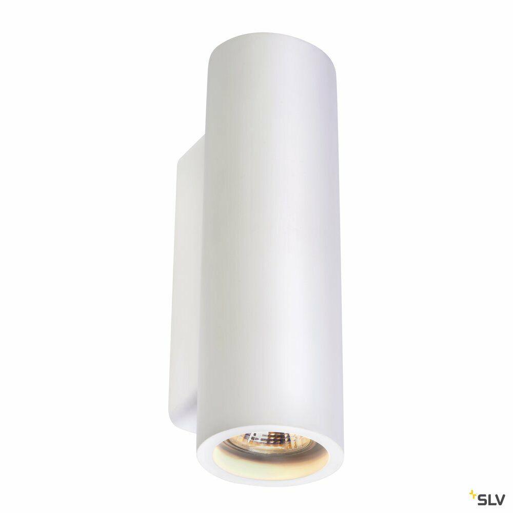 PLASTRA, Wandleuchte, QPAR51, rund, Tube, weißer Gips, max. 70W