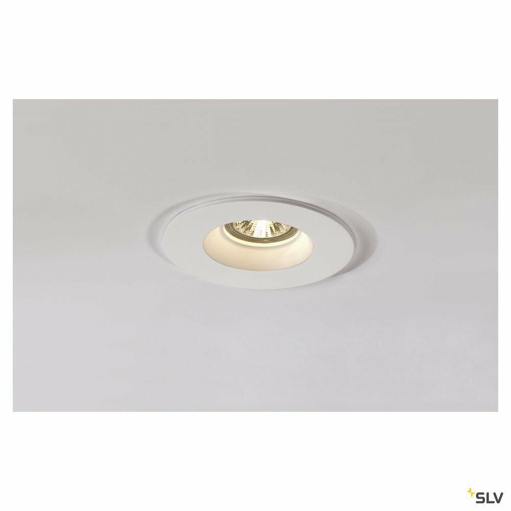 PLASTRA, Einbauleuchte, QPAR51, rund, weißer Gips, max. 35W