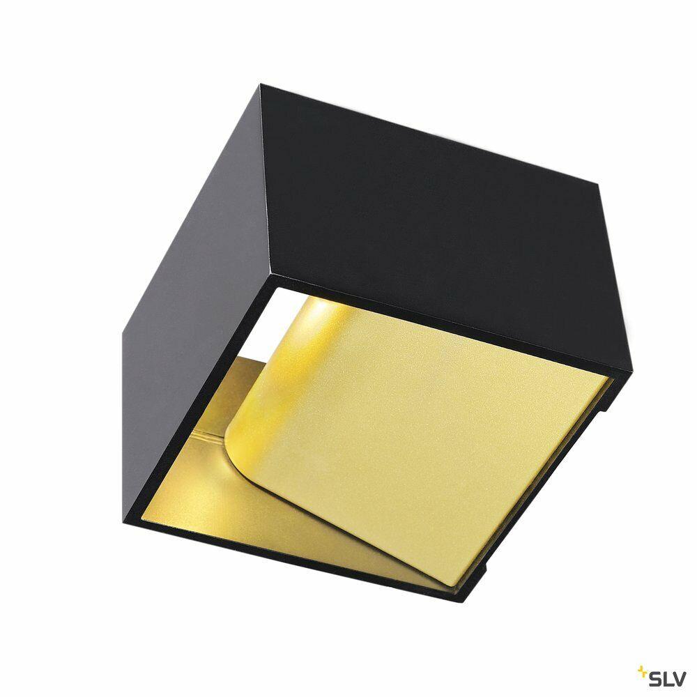 LOGS IN, Wandleuchte, LED, 3000K, eckig, schwarz/messing, inkl. LED-Treiber