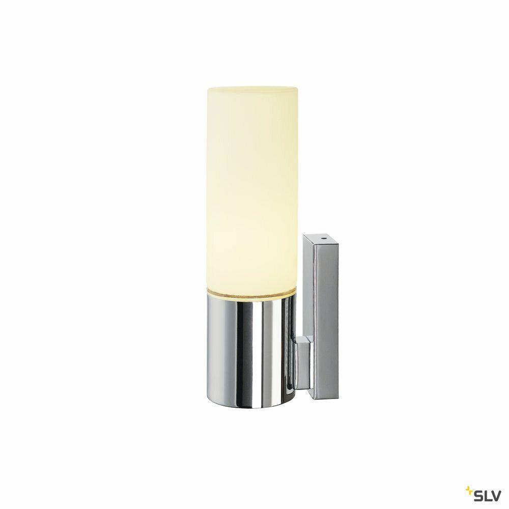 DEVIN, Wandleuchte, einflammig, LED, 3000K, IP44, rund, chrom, Glas satiniert, L/B/H 6,6/9,5/24 cm, 8 W
