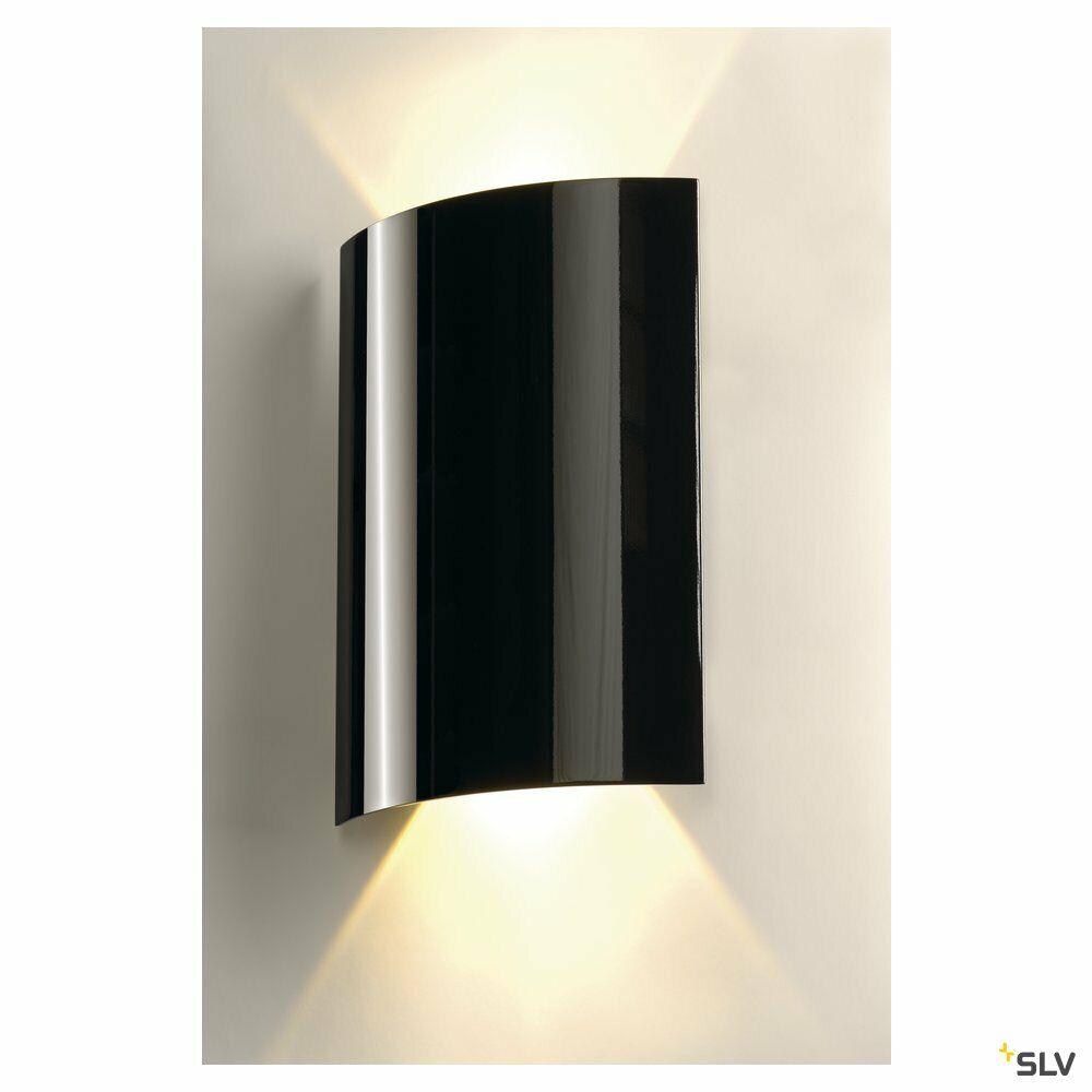 LED SAIL 2, Wandleuchte, LED, 3000K, halbrund, schwarz hochglänzend, L/B/H 21/6/30
