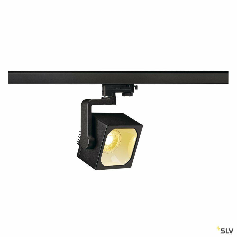 EURO CUBE, Spot für Hochvolt-Stromschiene 3Phasen, LED, 3000K, schwarz, 90°, inkl. 3Phasen-Adapter