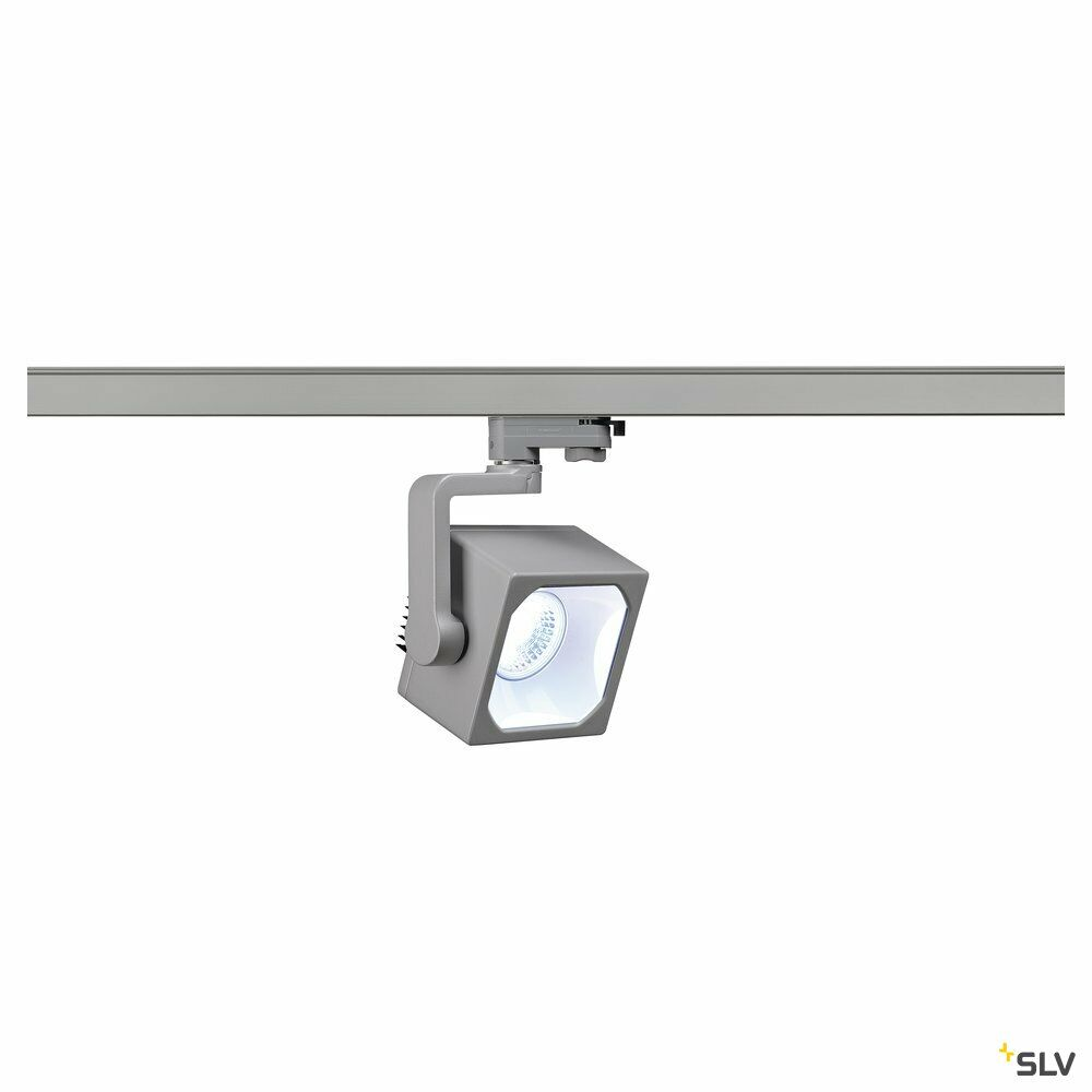 EURO CUBE, Spot für Hochvolt-Stromschiene 3Phasen, LED, 4000K, silbergrau, 90°, inkl. 3Phasen-Adapter