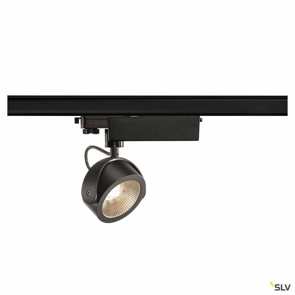 KALU TRACK, Strahler für 3Phasen Hochvolt-Stromschiene, LED, 3000K, schwarz, 24°, inkl. 3 Phasen-Adapter