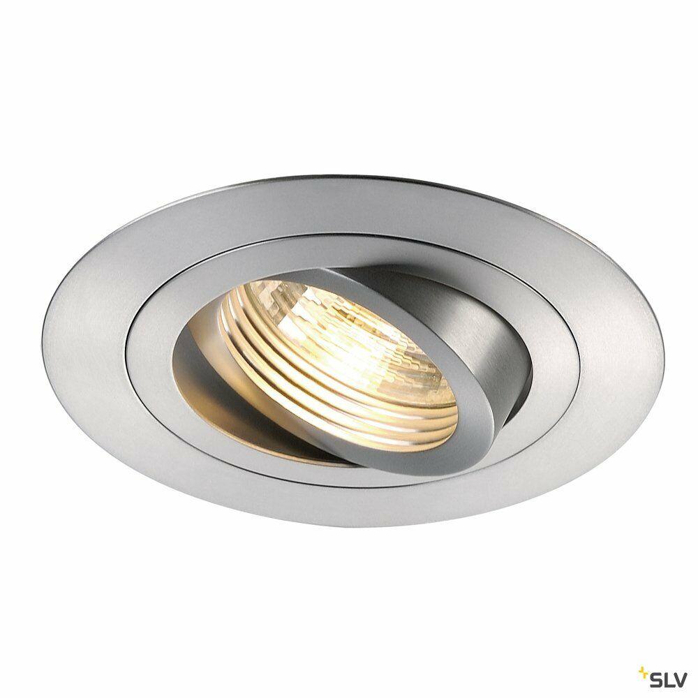 NEW TRIA XL, Einbauleuchte, QPAR51, rund, aluminium gebürstet, max. 50W, inkl. Clipfedern