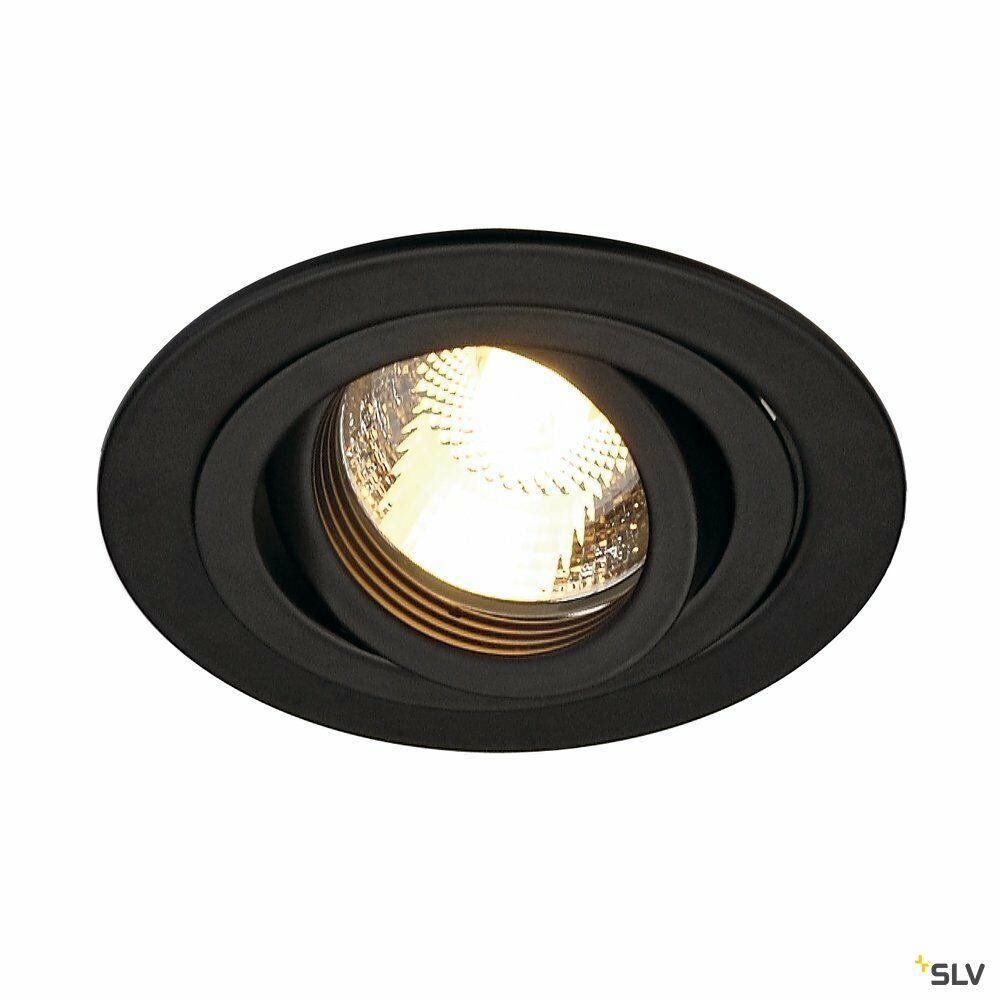 NEW TRIA 1, Einbauleuchte, einflammig, QPAR51, rund, schwarz, max. 50W, inkl. Clipfedern
