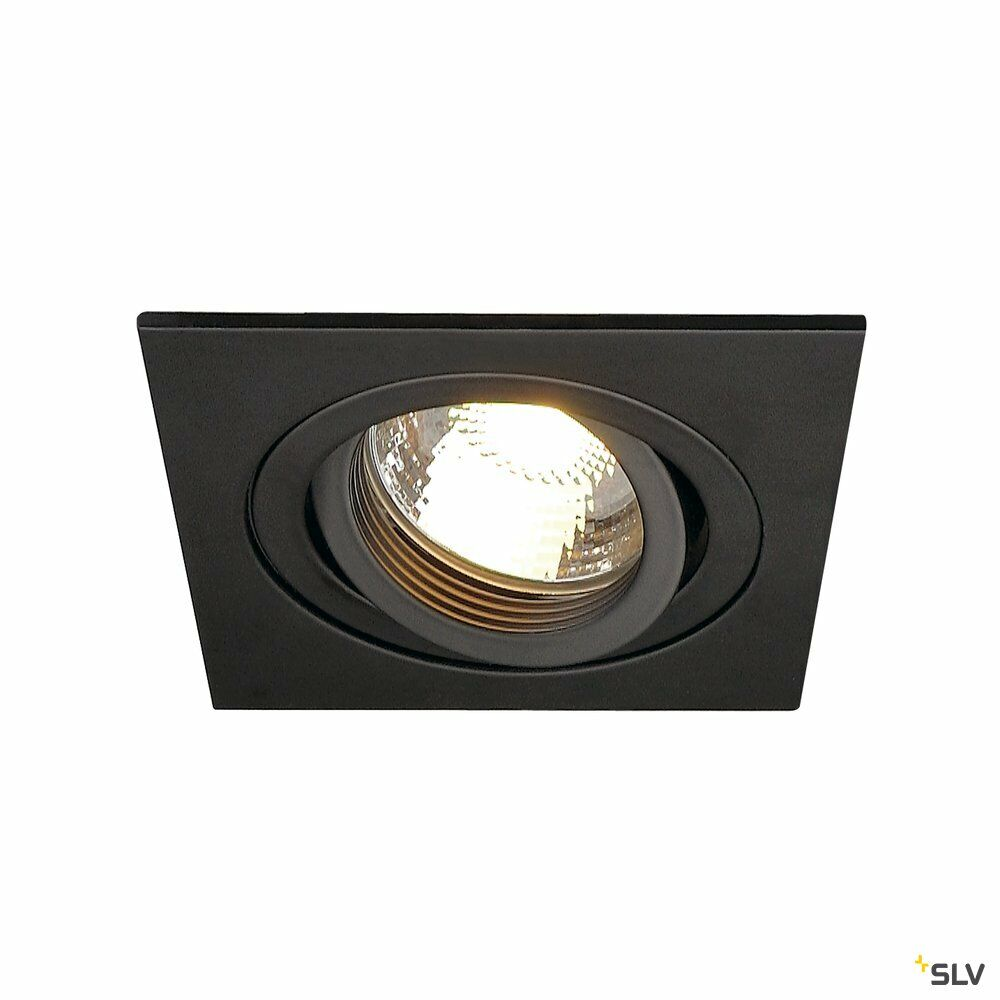 NEW TRIA 1, Einbauleuchte, einflammig, QPAR51, eckig, schwarz, max. 50W, inkl. Clipfedern