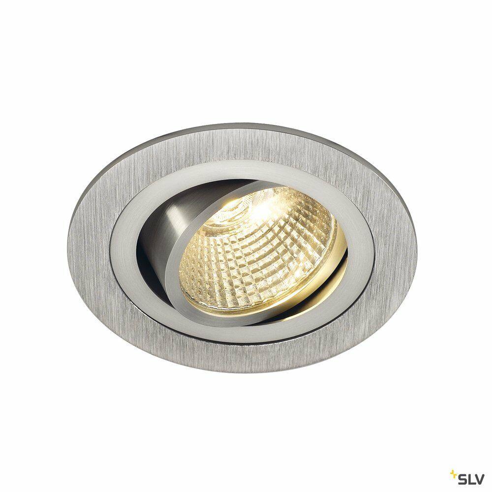 NEW TRIA 1 SET, Einbauleuchte, einflammig, LED, 2700K, rund, aluminium gebürstet, 38°, 9,1W, inkl. Treiber, Clipfedern