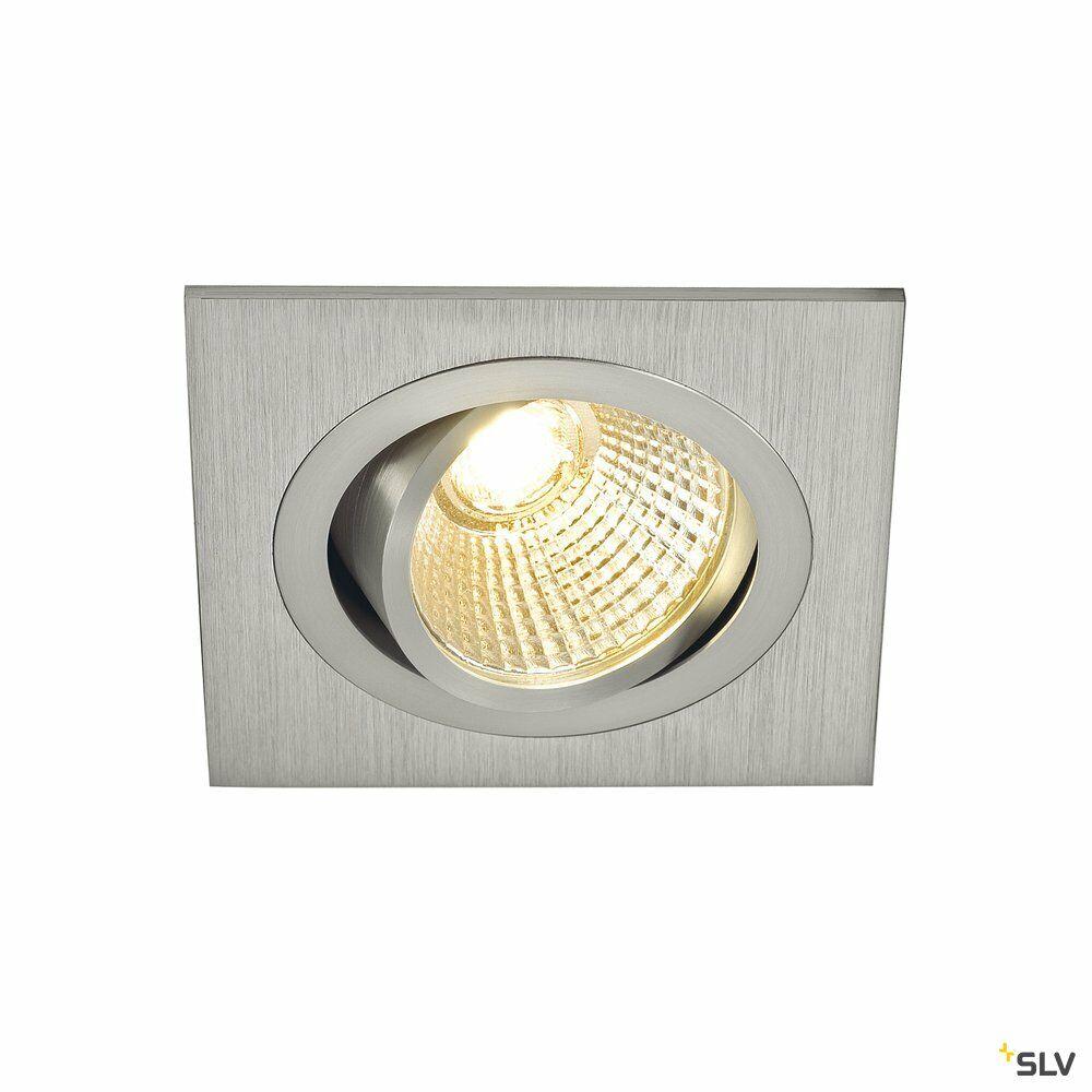 NEW TRIA 1 SET, Einbauleuchte, einflammig, LED, 2700K, eckig, aluminium gebürstet, 38°, 9,1W, inkl. Treiber, Clipfedern
