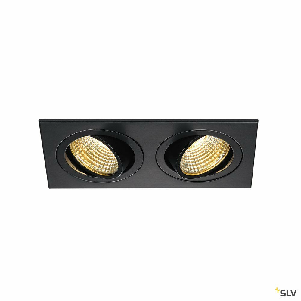 NEW TRIA 2 SET, Einbauleuchte, zweiflammig, LED, 2700K, rechteckig, schwarz matt, 38°, 15W, inkl. Treiber, Clipfedern