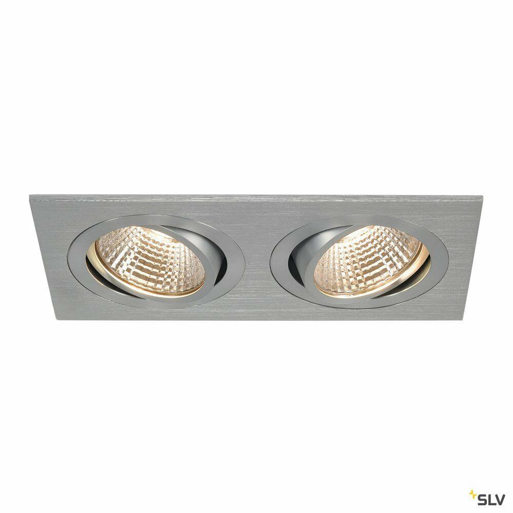 NEW TRIA 2 SET, Einbauleuchte, zweiflammig, LED, 2700K, rechteckig, aluminium gebürstet, 38°, 14,7W, inkl. Treiber, Clipfedern