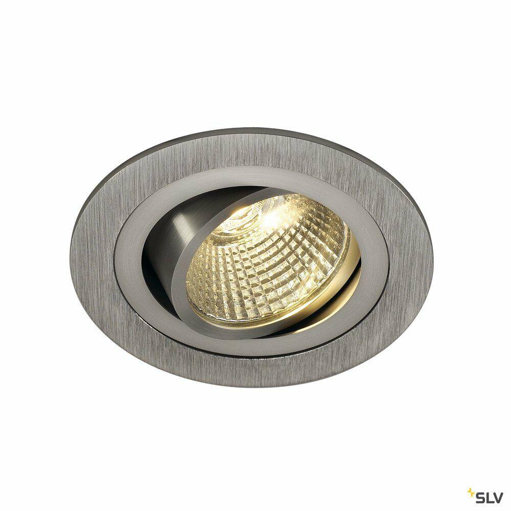 NEW TRIA 1 SET, Einbauleuchte, einflammig, LED, 3000K, rund, aluminium gebürstet, 38°, 9,1W, inkl. Treiber, Clipfedern