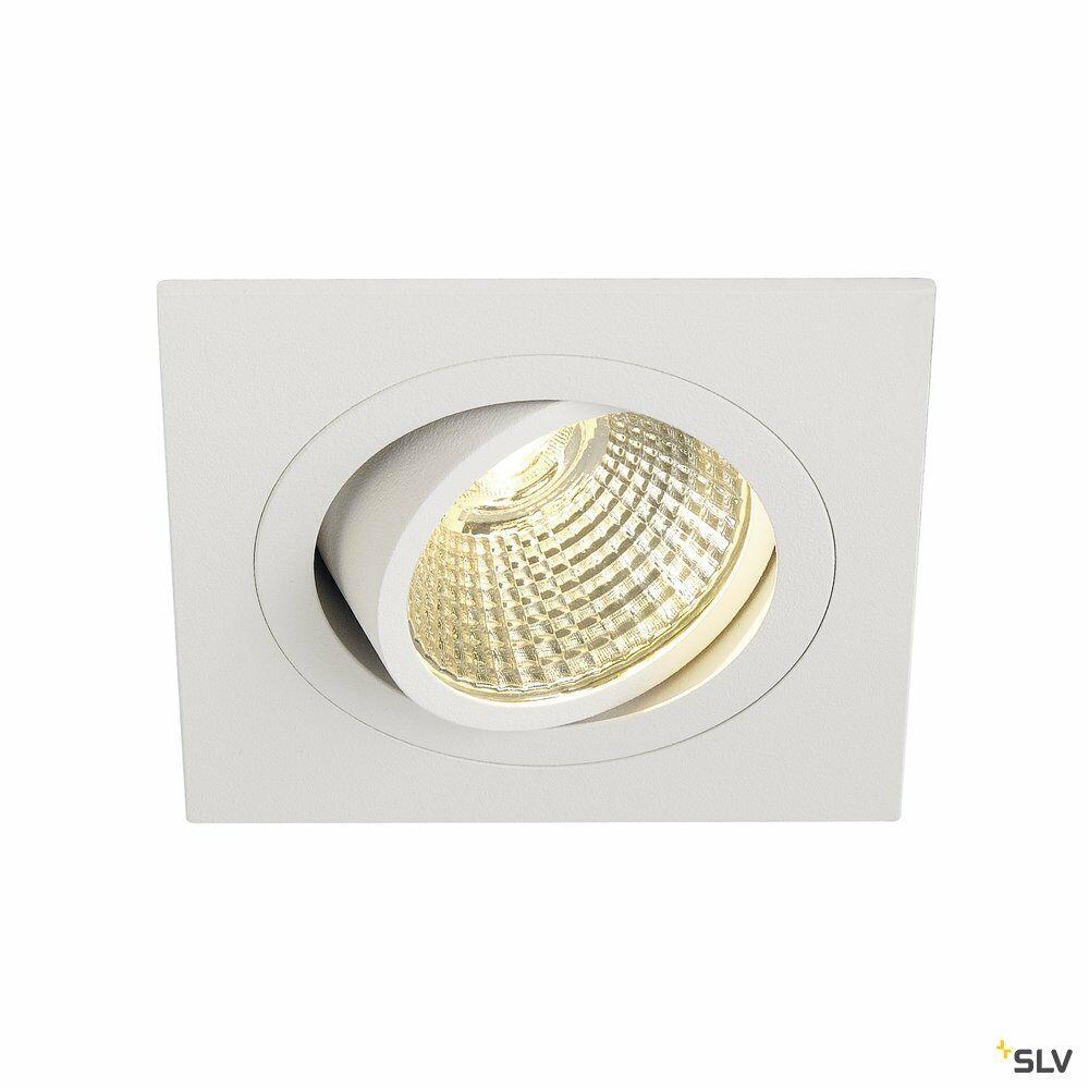 NEW TRIA 1 SET, Einbauleuchte, einflammig, LED, 3000K, eckig, weiß, 38°, 9,1W, inkl. Treiber, Clipfedern