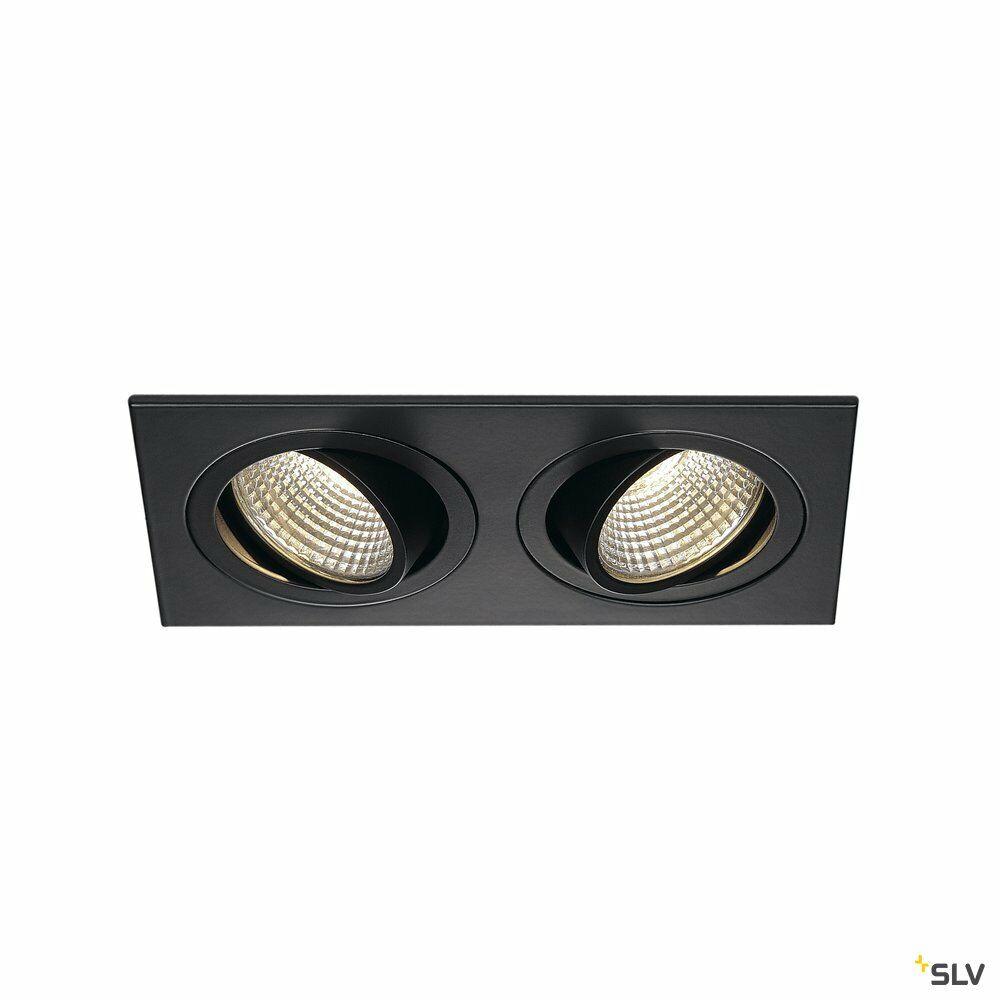 NEW TRIA 2 SET, Einbauleuchte, zweiflammig, LED, 3000K, rechteckig, schwarz matt, 38°, 15W, inkl. Treiber, Clipfedern