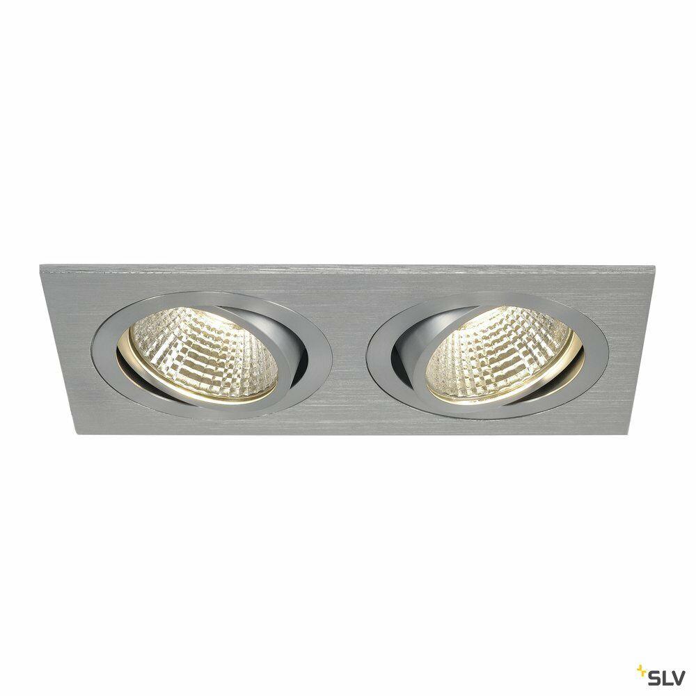NEW TRIA 2 SET, Einbauleuchte, zweiflammig, LED, 3000K, rechteckig, aluminium gebürstet, 38°, 14,7W, inkl. Treiber, Clipfedern