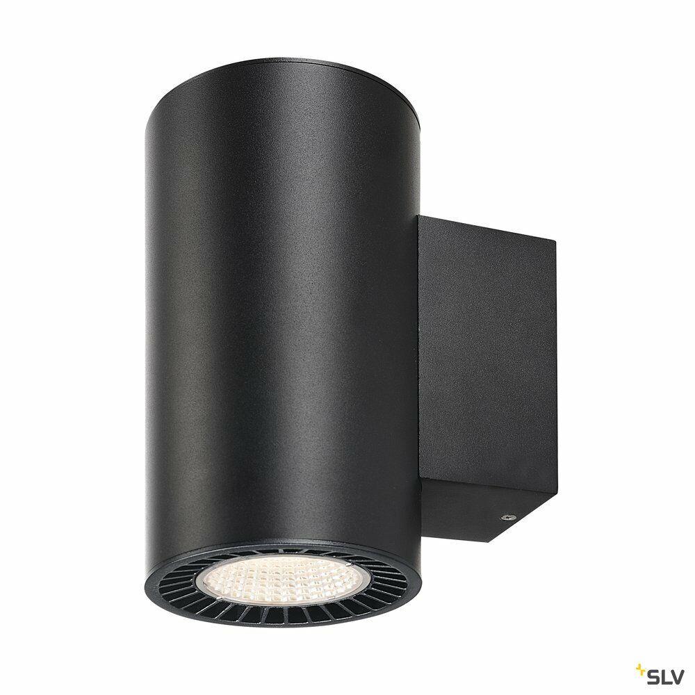 SUPROS, Wandleuchte, LED, 3000K, rund, schwarz, 60° Reflektor, 2x15,2W
