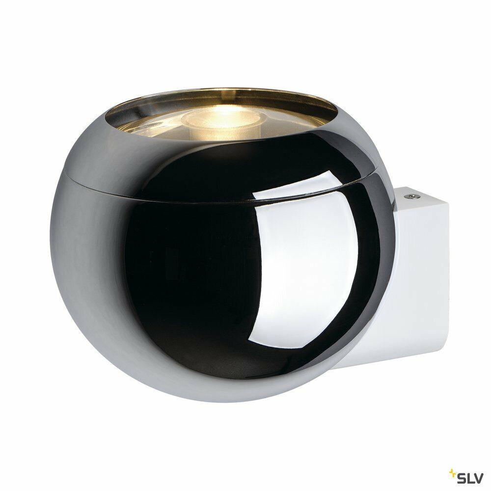 LIGHT EYE BALL, Wandleuchte, QPAR111, chrom/weiß, max. 75W
