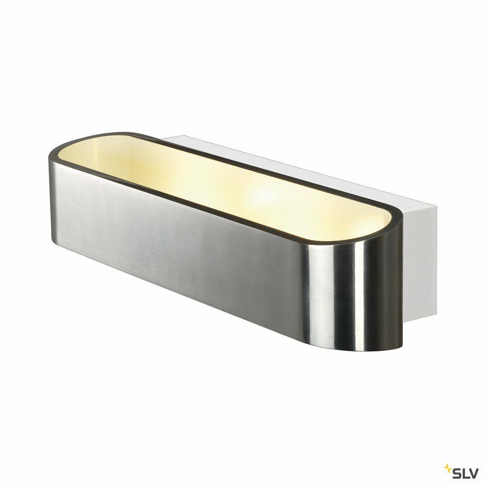 ASSO 300, Wandleuchte, LED, 3000K, oval, aluminium gebürstet /weiß, L/B/H 30/9,5/7 cm