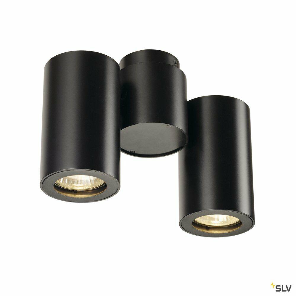 ENOLA_B, Wand- Deckenleuchte, zweiflammig, QPAR51, schwarz, max. 100 W