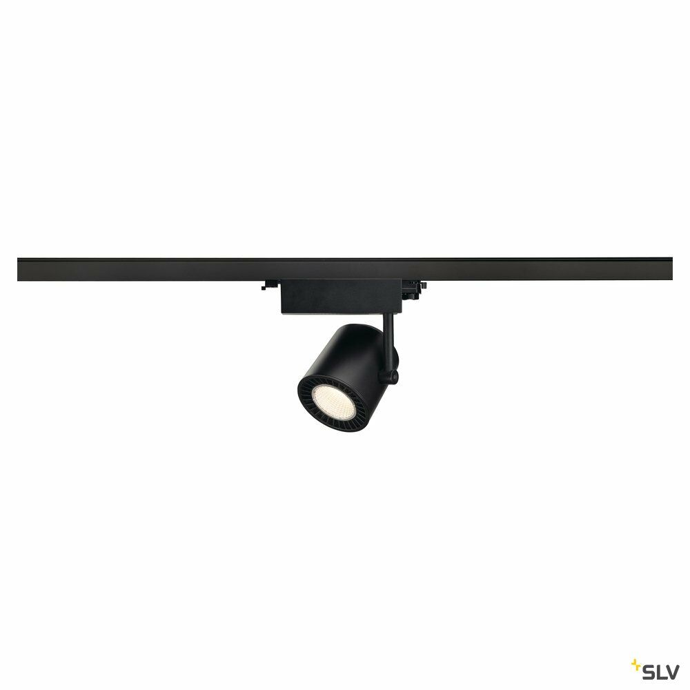 SUPROS, Spot für Hochvolt-Stromschiene 3Phasen, LED, 3000K, schwarz, 60° Reflektor, inkl. 3Phasen-Adapter