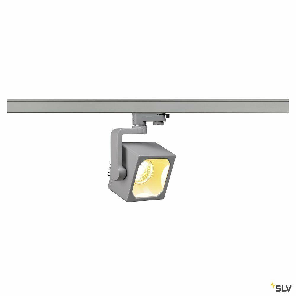 EURO CUBE, Spot für Hochvolt-Stromschiene 3Phasen, LED, 3000K, silbergrau, 90°, inkl. 3Phasen-Adapter