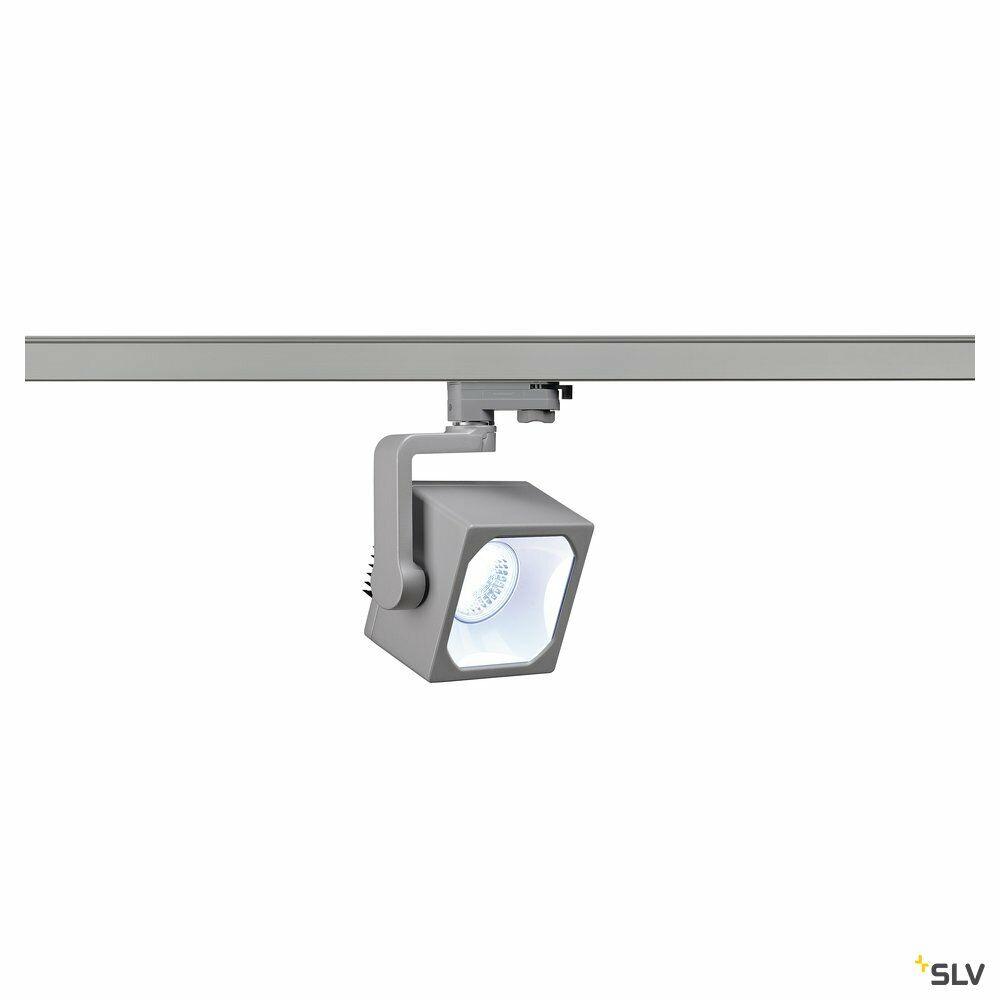 EURO CUBE, Spot für Hochvolt-Stromschiene 3Phasen,  LED, 4000K,silbergrau, 60°, inkl. 3Phasen-Adapter
