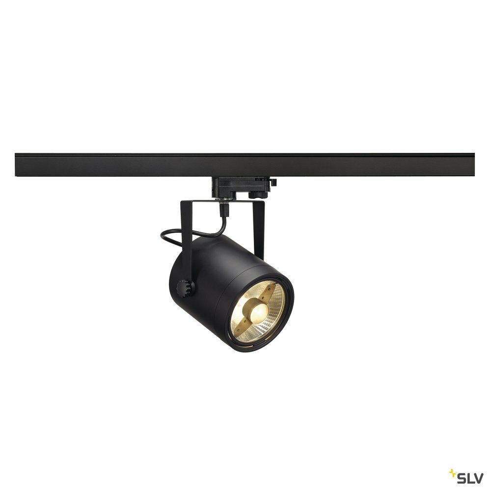 EURO SPOT, Spot für Hochvolt-Stromschiene 3Phasen, QPAR111, rund, schwarz, max. 75W, inkl. 3Phasen-Adapter