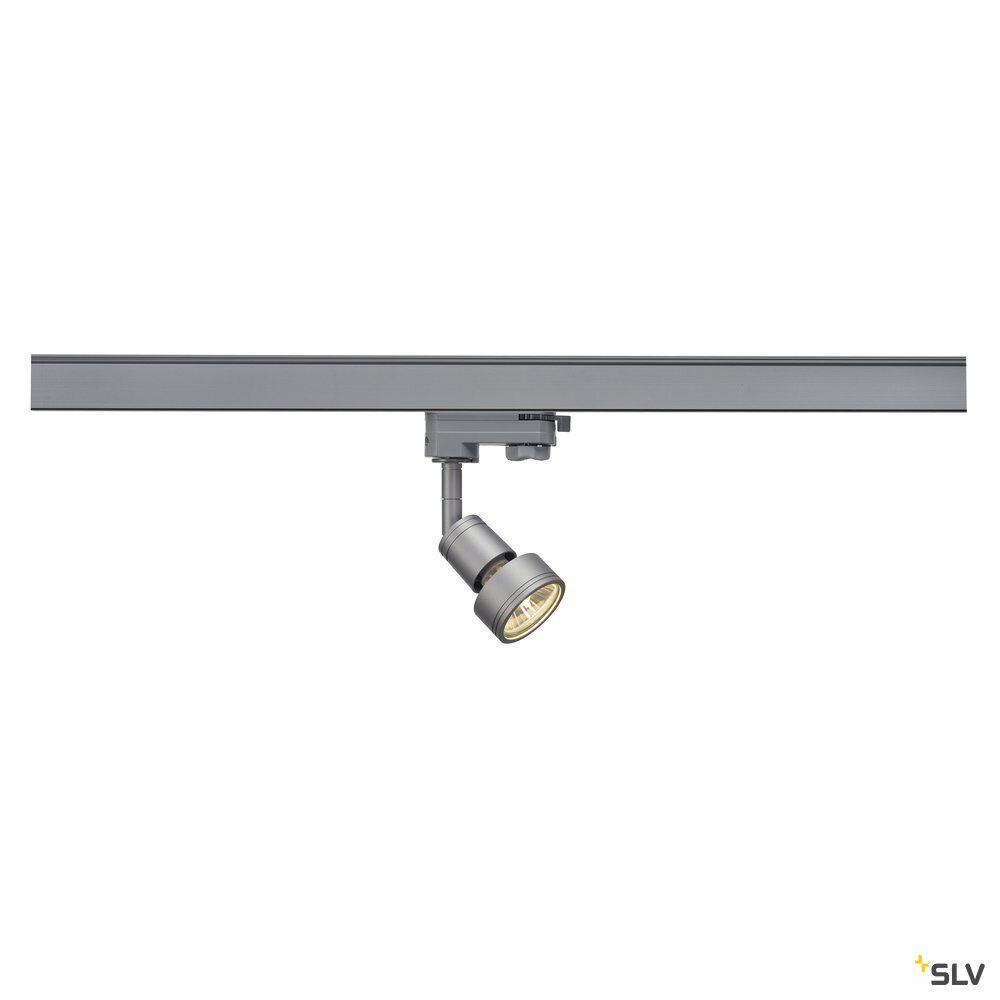 PURI, Spot für Hochvolt-Stromschiene 3Phasen, QPAR51, silbergrau, max. 50W, inkl. 3Phasen-Adapter
