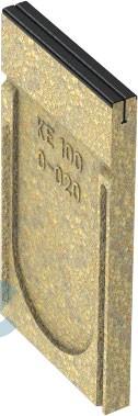 KE-100 Stirnwang geschlossen mit schwarzer Stahlzarge für die rinne Nr. 0-0205