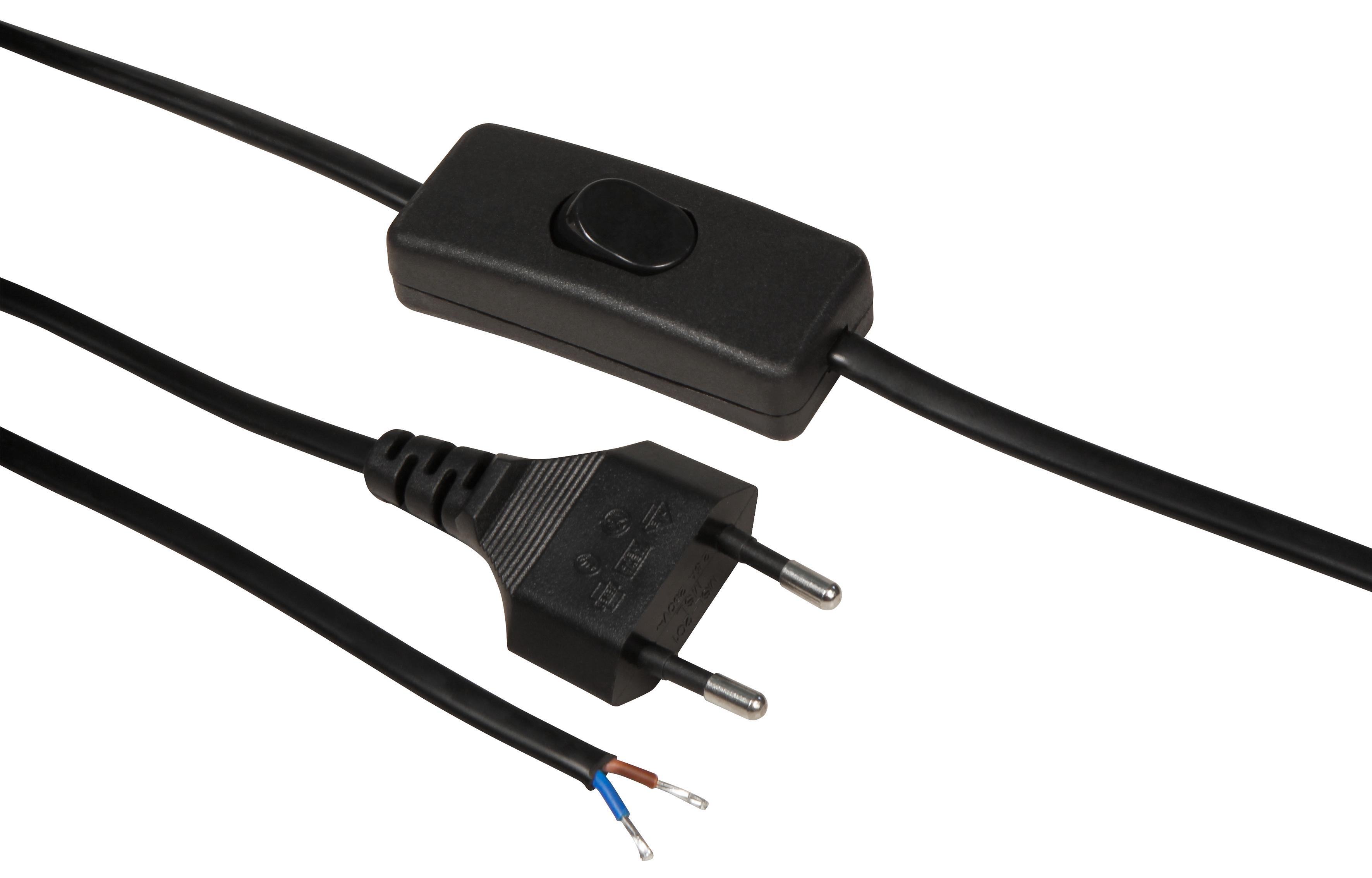 Euro-Netzkabel McPower mit Schnurschalter und blanken Enden, 2m, schwarz