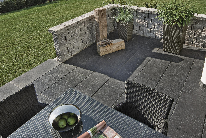 Gartenmauer KLASSIKLINE Abdeckstein antik Grau-Schwarz mit Tropfn. längs 320 x 250 x 75 mm