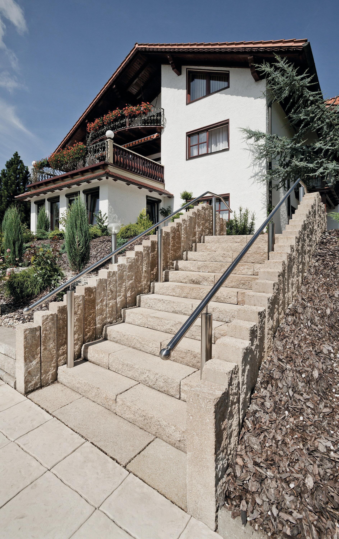 KLASSIKLINE Blockstufe Sandstein-Beige 800 x 400 x 150 mm 1 Kopf rechts bearbeitet