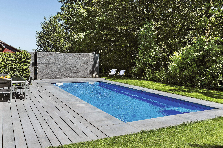 Terrassenplatte MASSIMO Diele Sichtbeton Anthrazit gekalkt 2500 x 160 x 80 mm