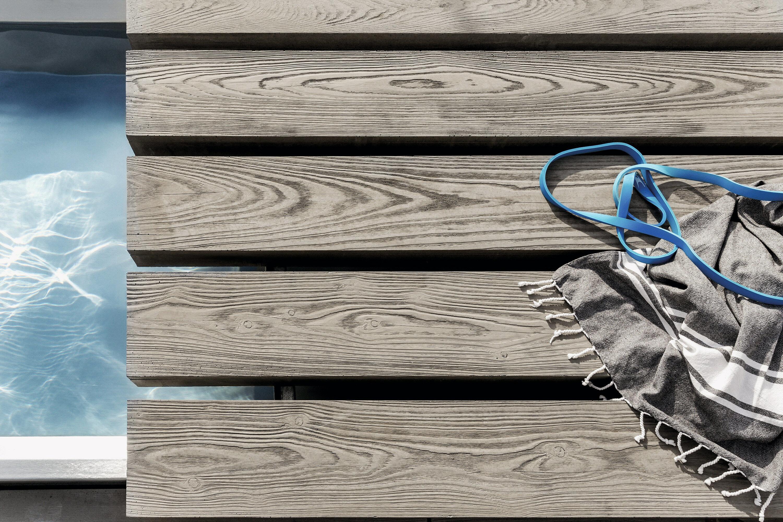 Terrassenplatte MASSIMO Diele Sichtbeton Braun gekalkt 2500 x 220 x 80 mm