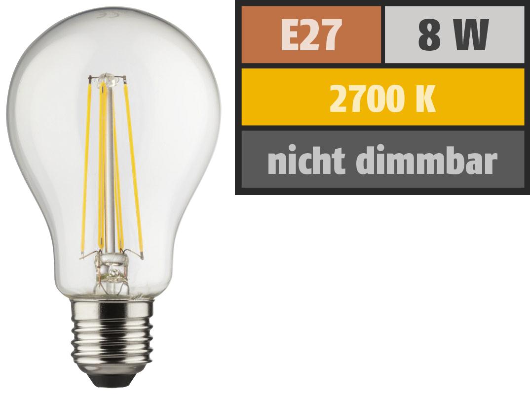 LED Filament Glühlampe, E27, 8W, 1055lm, 2700K, warmweiß