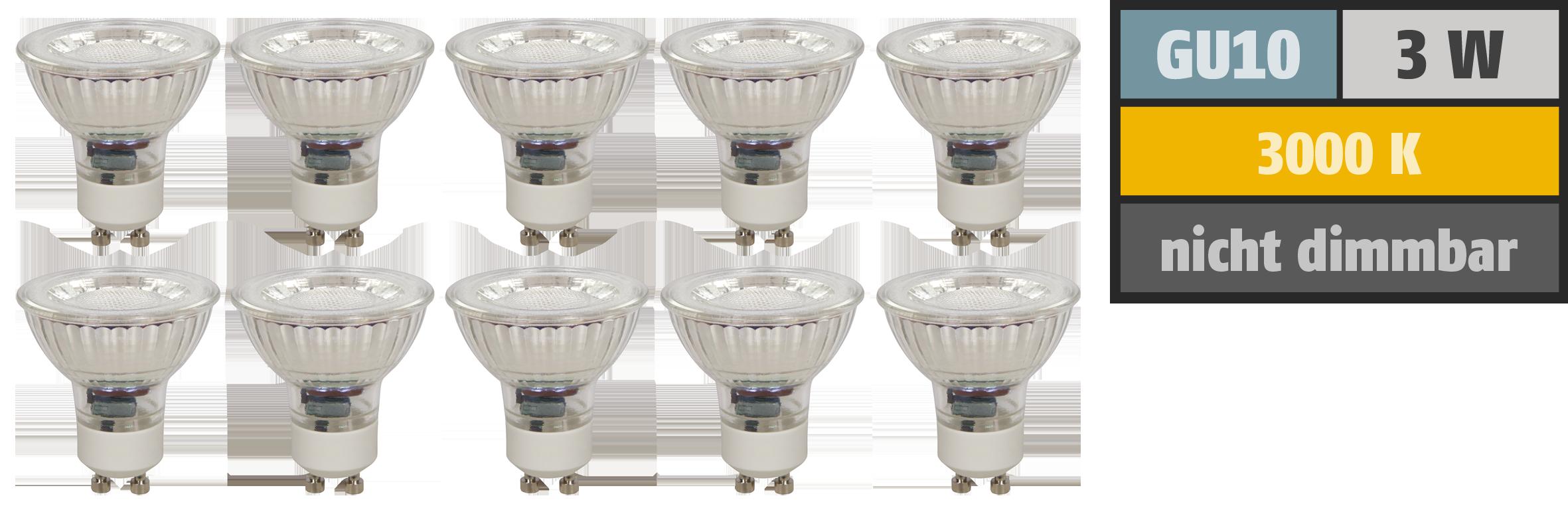 LED-Strahler McShine ''MCOB'' GU10, 3W, 250 lm, warmweiß, 10er-Pack