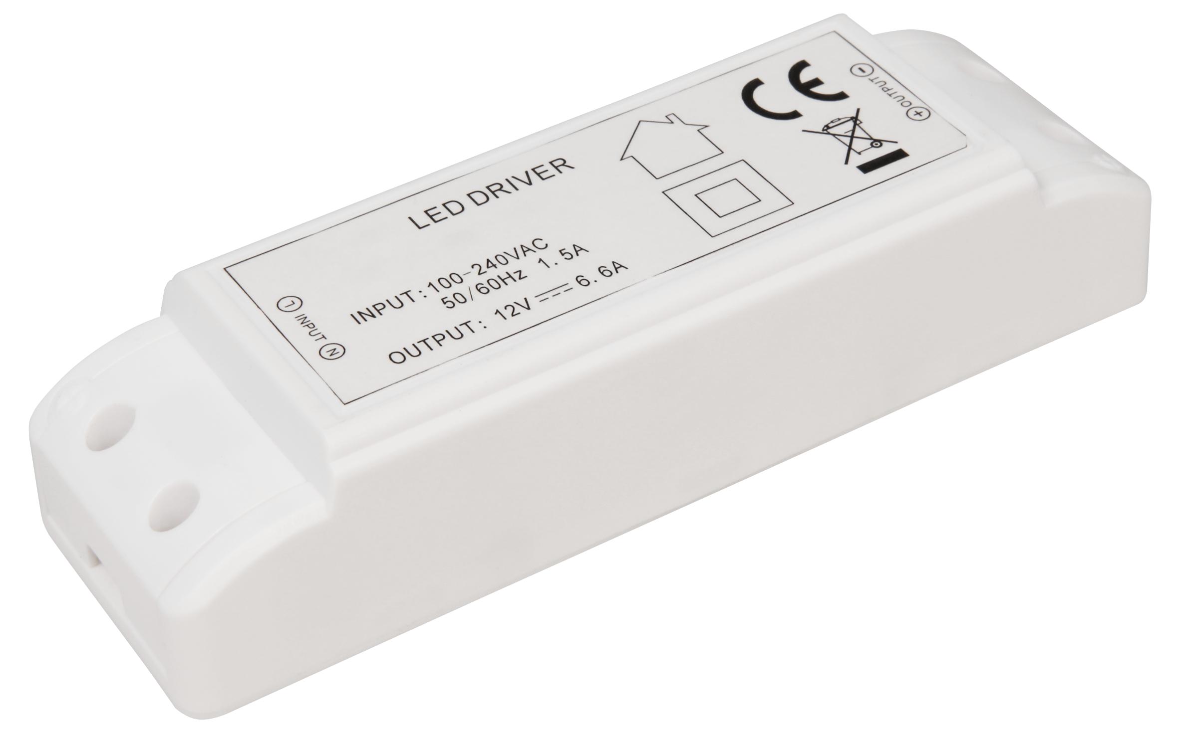 LED-Trafo McShine, elektronisch, 1-80W, 230V auf 12V, 160x50x36mm