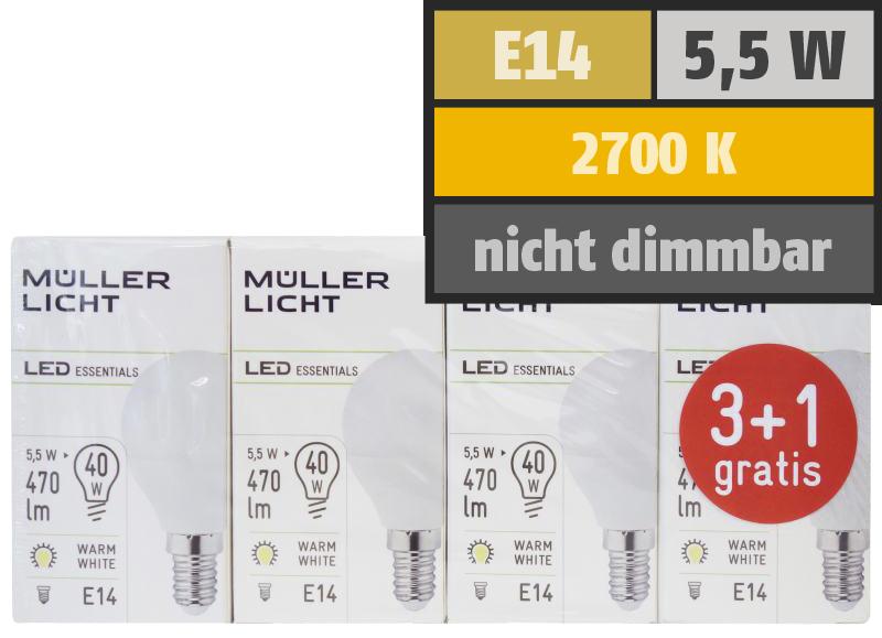 LED Tropfenlampe, E14, 5,5W, 470lm, 2700K, warmweiß, 3+1 Set