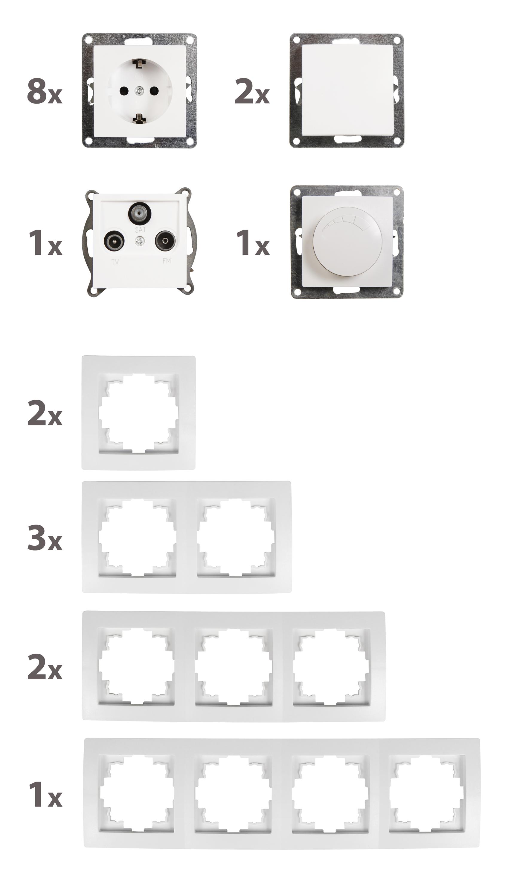 Schalter und Steckdosen Set McPower Flair ''Wohnlandschaft Dimmer'', 20-teilig, weiß