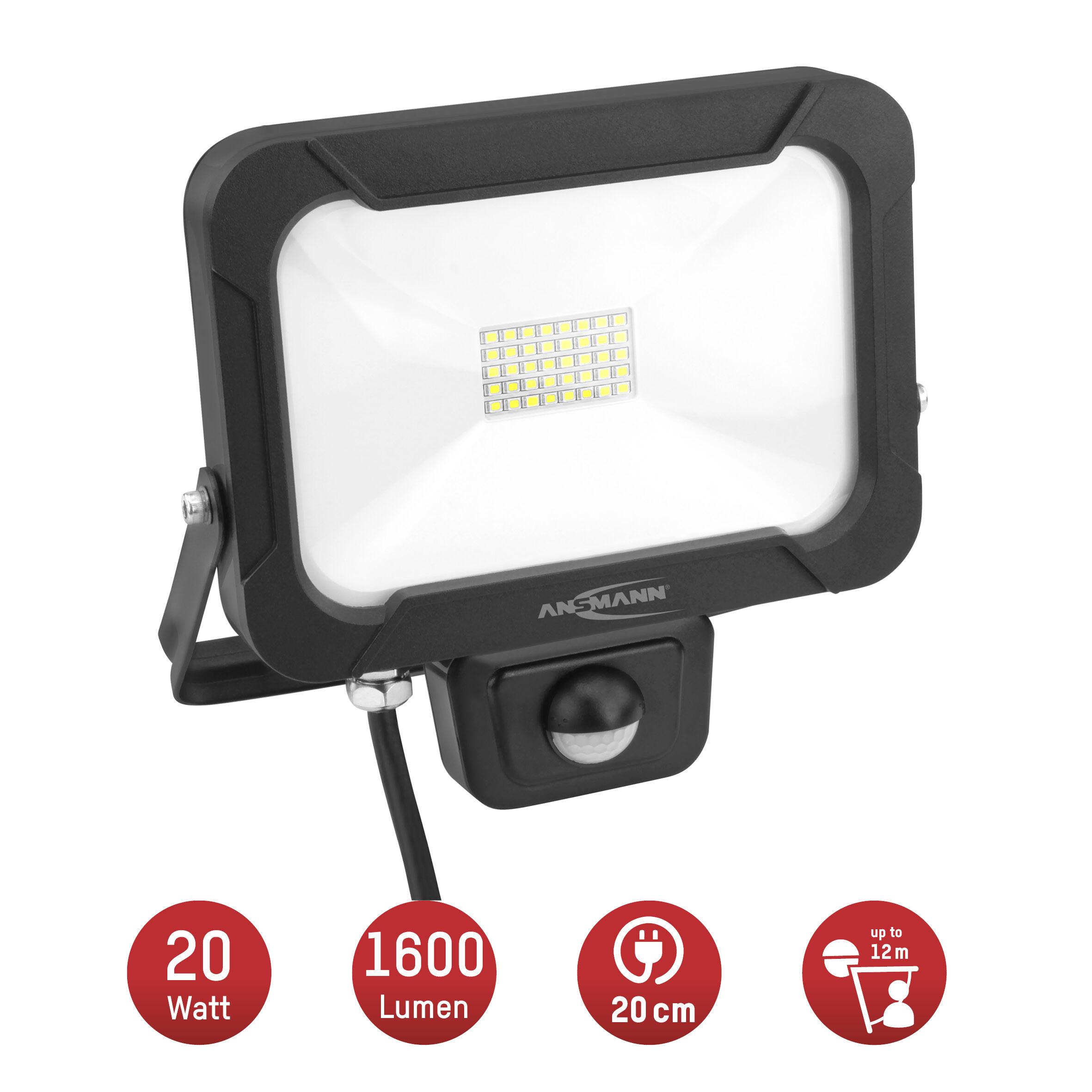 ANSMANN Wandstrahler mit Bewegungsmelder LED 20W – IP54 wetterfest