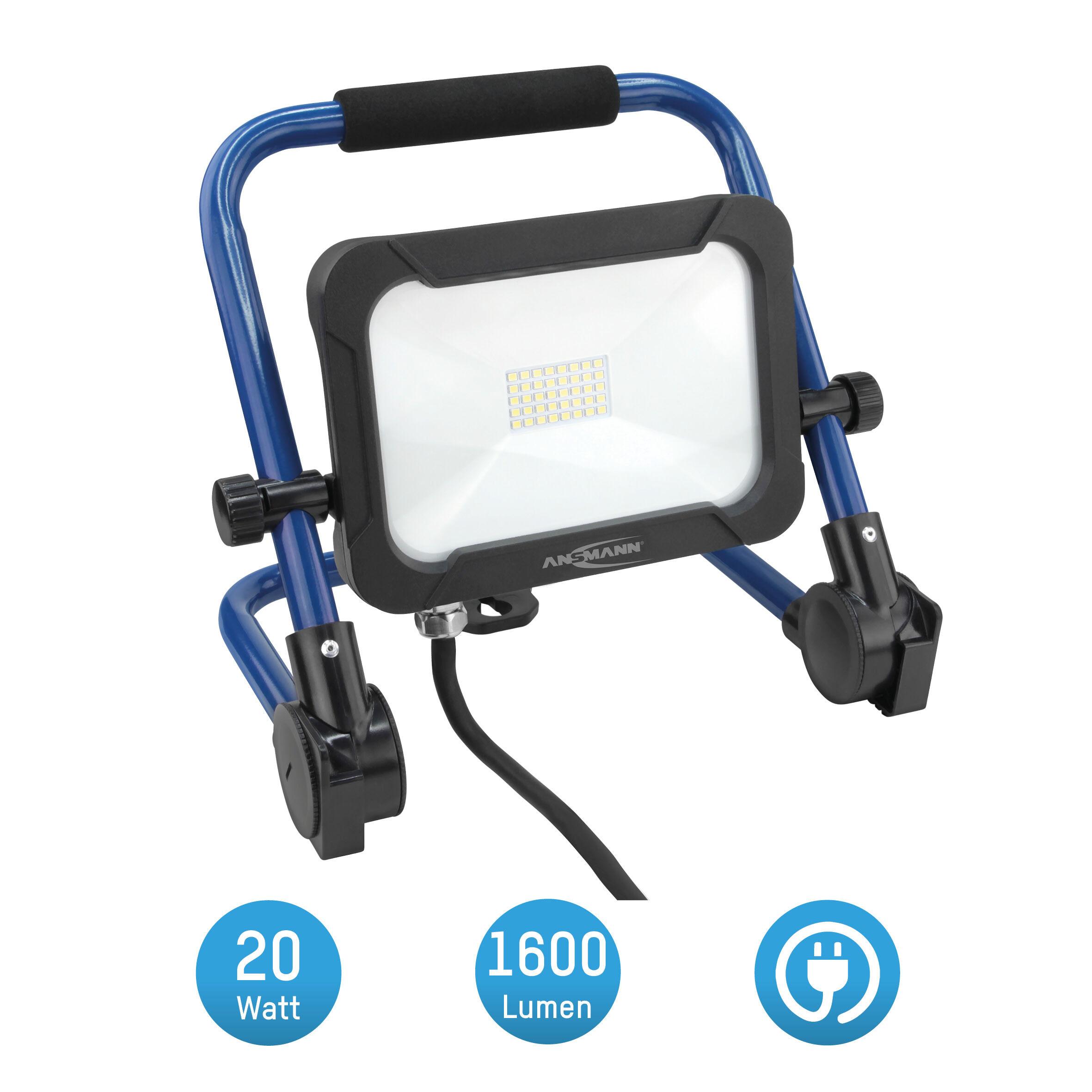 ANSMANN Baustrahler LED 20W – Baustellen Lampe, Bau Leuchte, IP54 wetterfest