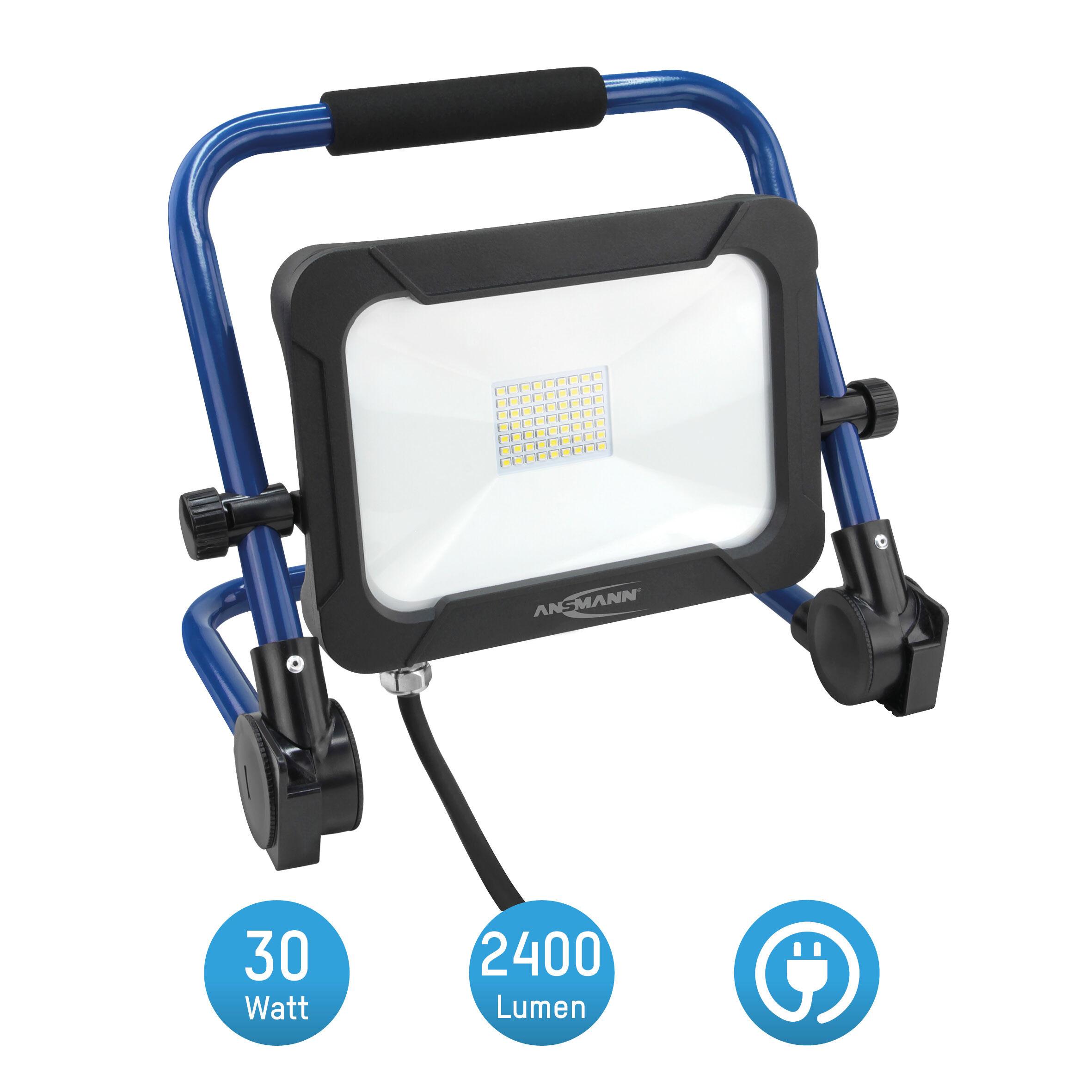ANSMANN Baustrahler LED 30W – Baustellen Lampe, Bau Leuchte, IP54 wetterfest