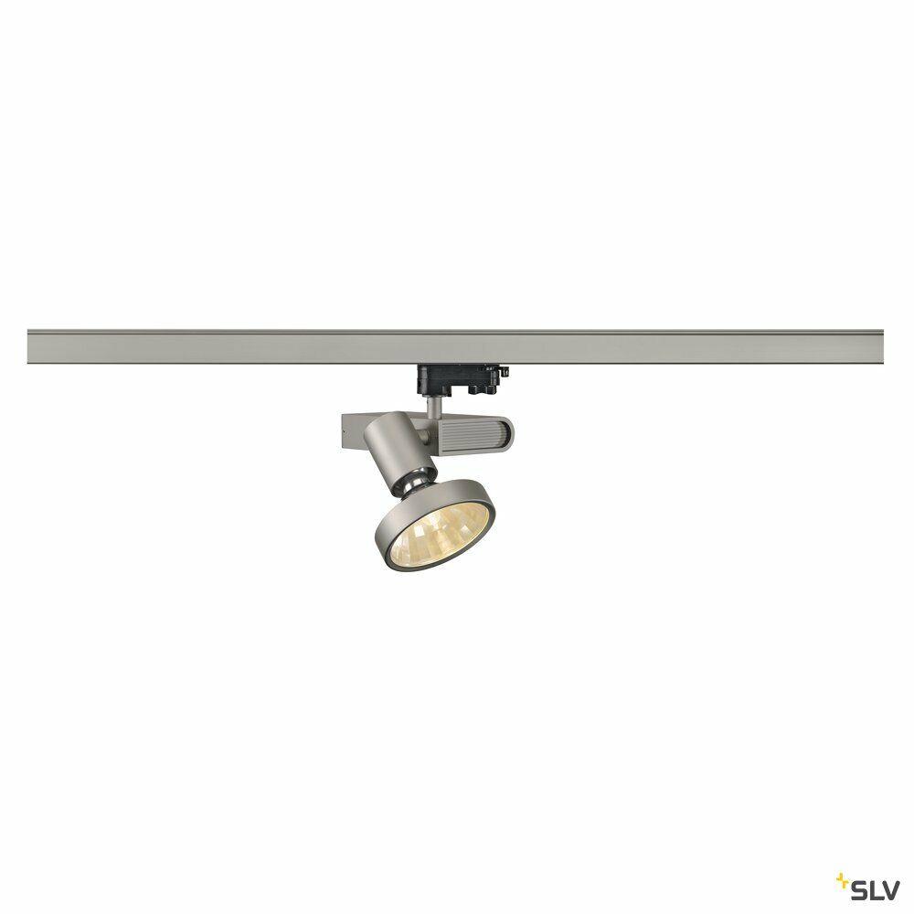 SLEEK SPOT, Spot für Hochvolt-Stromschiene 3Phasen, HIT, silbergrau,  max. 70W, inkl. 16° Reflektor und 3Phasen-Adapter